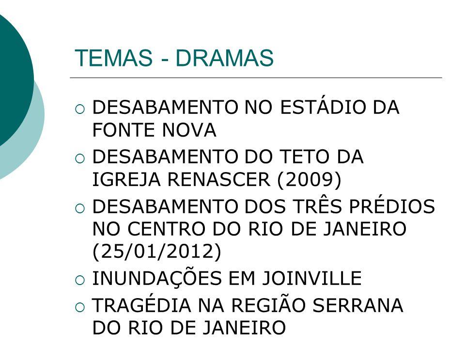 TEMAS - DRAMAS DESABAMENTO NO ESTÁDIO DA FONTE NOVA DESABAMENTO DO TETO DA IGREJA RENASCER (2009) DESABAMENTO DOS TRÊS PRÉDIOS NO CENTRO DO RIO DE JAN