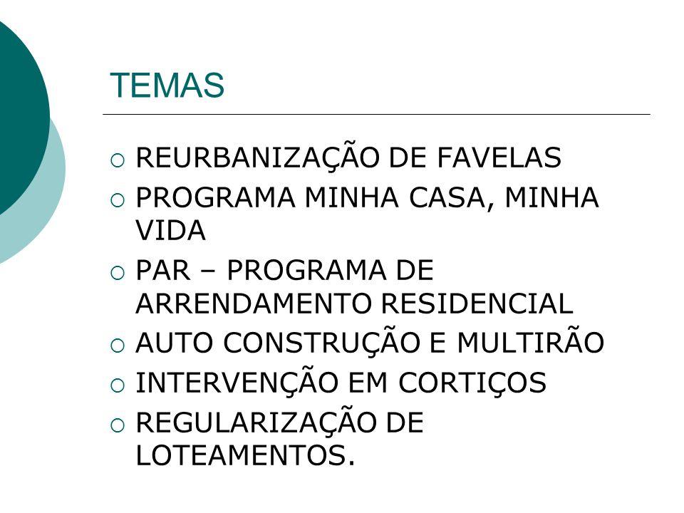 TEMAS REURBANIZAÇÃO DE FAVELAS PROGRAMA MINHA CASA, MINHA VIDA PAR – PROGRAMA DE ARRENDAMENTO RESIDENCIAL AUTO CONSTRUÇÃO E MULTIRÃO INTERVENÇÃO EM CO