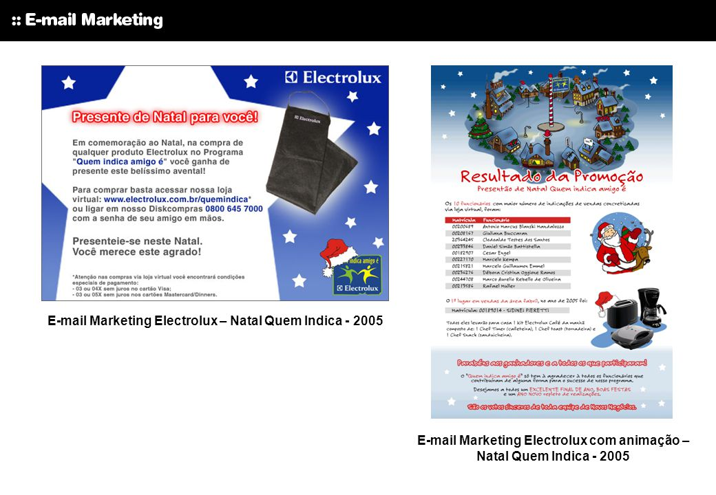 E-mail Marketing Electrolux – Natal Quem Indica - 2005 E-mail Marketing Electrolux com animação – Natal Quem Indica - 2005
