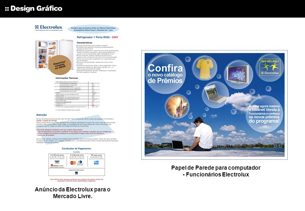 Anúncio da Electrolux para o Mercado Livre. Papel de Parede para computador - Funcionários Electrolux