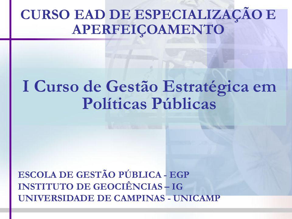 I Curso de Gestão Estratégica em Políticas Públicas CURSO EAD DE ESPECIALIZAÇÃO E APERFEIÇOAMENTO ESCOLA DE GESTÃO PÚBLICA - EGP INSTITUTO DE GEOCIÊNC