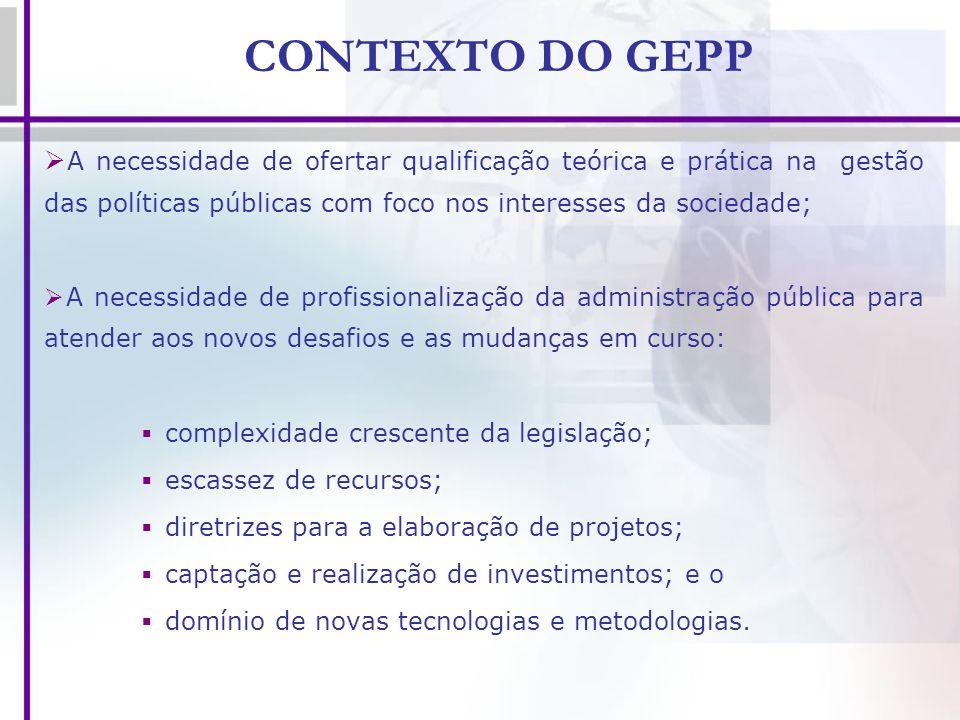 CONTEXTO DO GEPP A necessidade de ofertar qualificação teórica e prática na gestão das políticas públicas com foco nos interesses da sociedade; A nece