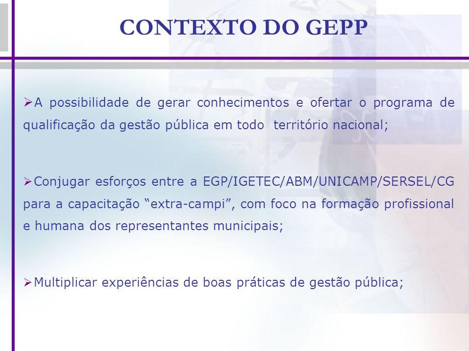CONTEXTO DO GEPP A possibilidade de gerar conhecimentos e ofertar o programa de qualificação da gestão pública em todo território nacional; Conjugar e