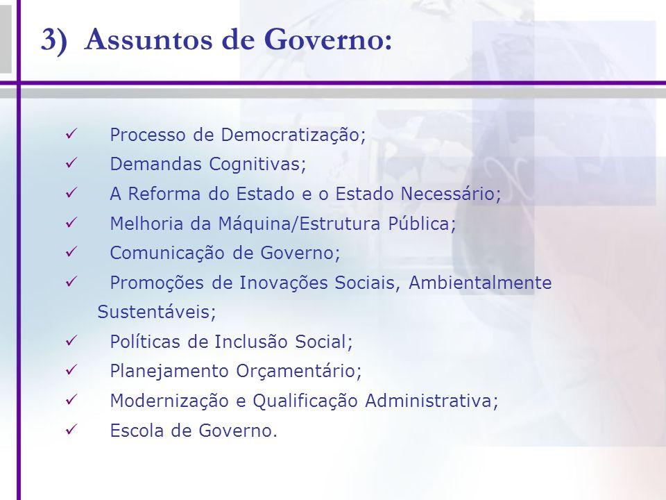 3) Assuntos de Governo: Processo de Democratização; Demandas Cognitivas; A Reforma do Estado e o Estado Necessário; Melhoria da Máquina/Estrutura Públ