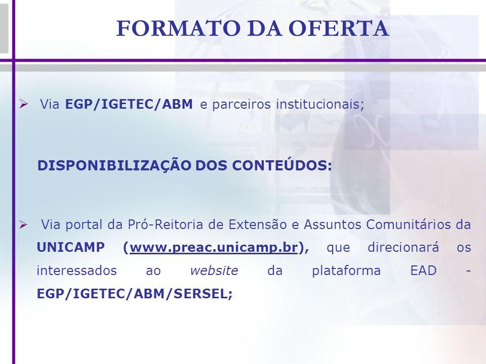FORMATO DA OFERTA Via EGP/IGETEC/ABM e parceiros institucionais; DISPONIBILIZAÇÃO DOS CONTEÚDOS: Via portal da Pró-Reitoria de Extensão e Assuntos Com