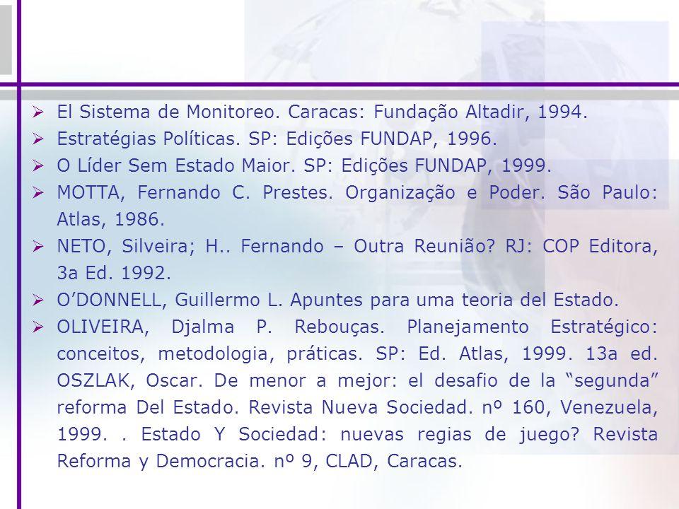 El Sistema de Monitoreo. Caracas: Fundação Altadir, 1994. Estratégias Políticas. SP: Edições FUNDAP, 1996. O Líder Sem Estado Maior. SP: Edições FUNDA