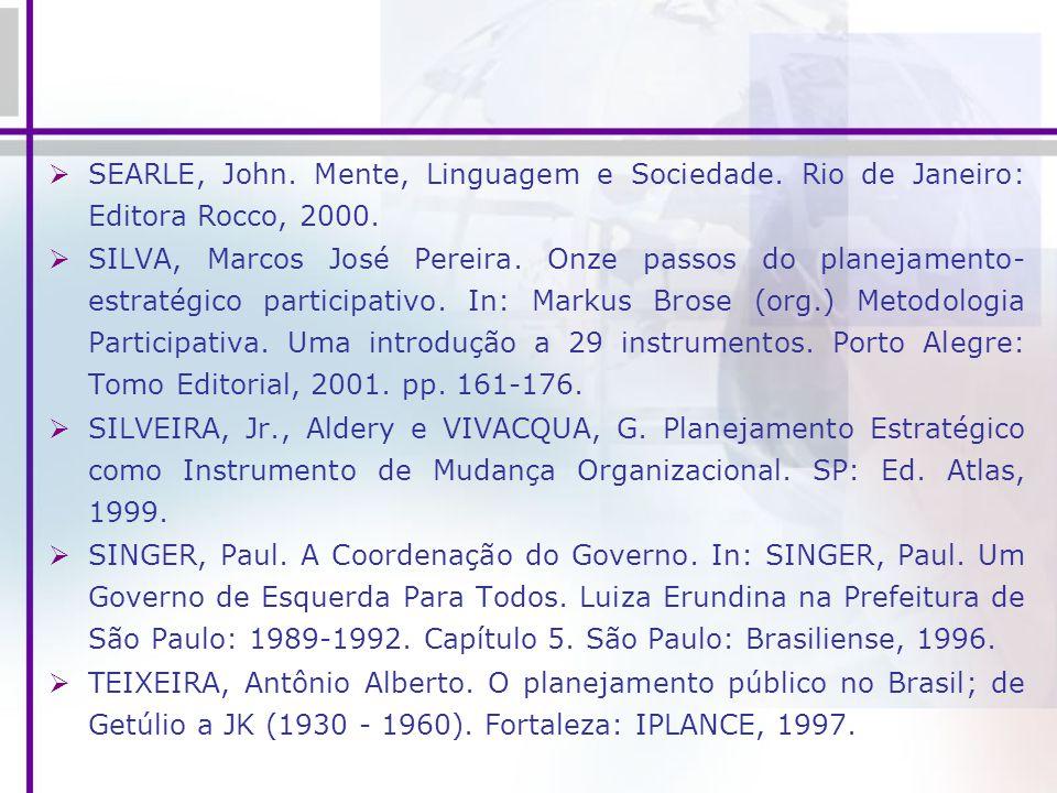 SEARLE, John. Mente, Linguagem e Sociedade. Rio de Janeiro: Editora Rocco, 2000. SILVA, Marcos José Pereira. Onze passos do planejamento- estratégico
