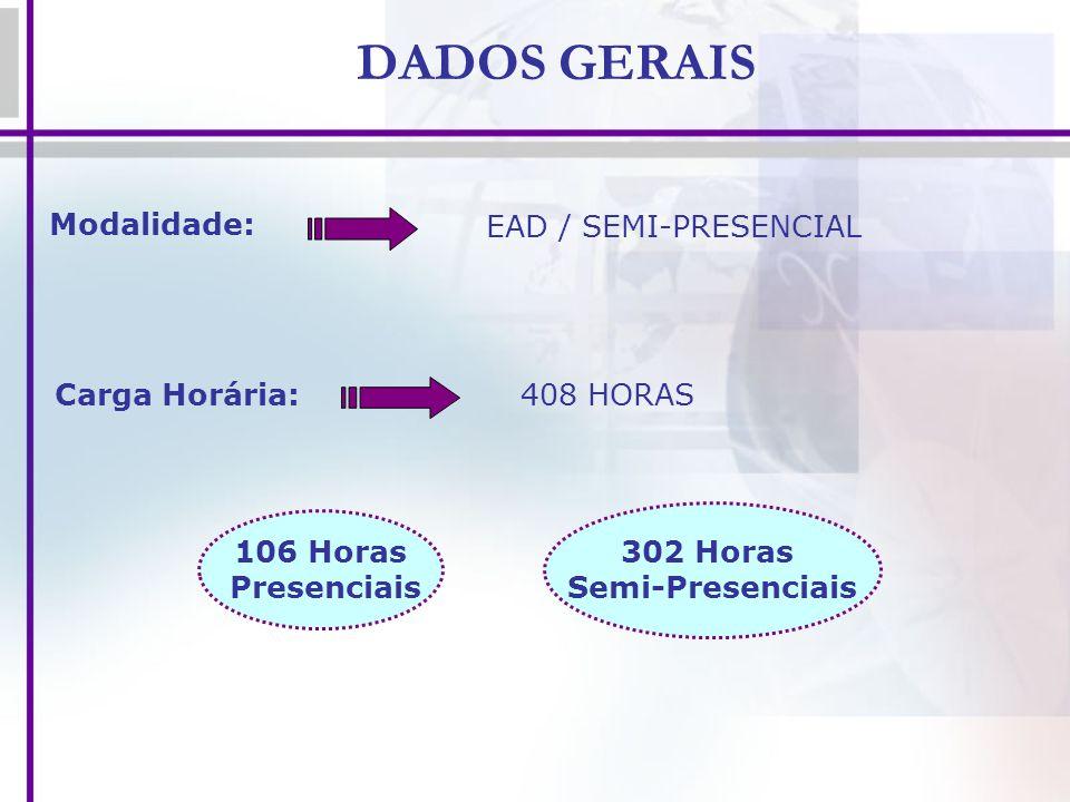 DADOS GERAIS Modalidade: EAD / SEMI-PRESENCIAL Carga Horária:408 HORAS 106 Horas Presenciais 302 Horas Semi-Presenciais