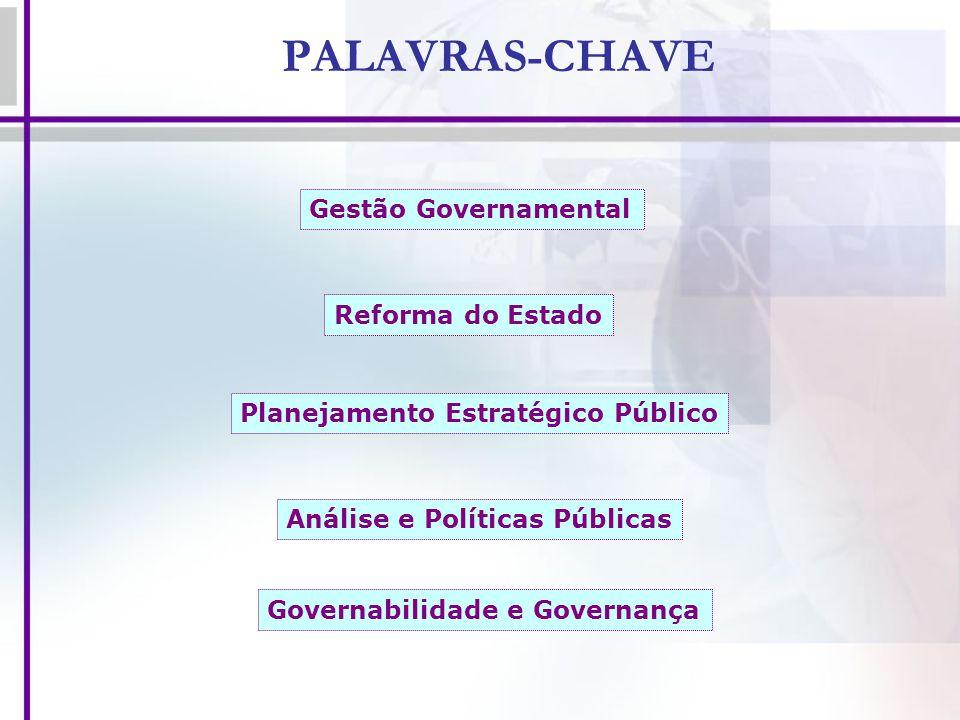 PALAVRAS-CHAVE Gestão Governamental Planejamento Estratégico Público Reforma do Estado Análise e Políticas Públicas Governabilidade e Governança