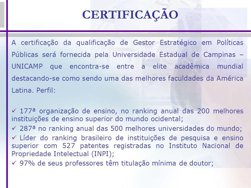 CERTIFICAÇÃO A certificação da qualificação de Gestor Estratégico em Políticas Públicas será fornecida pela Universidade Estadual de Campinas – UNICAM