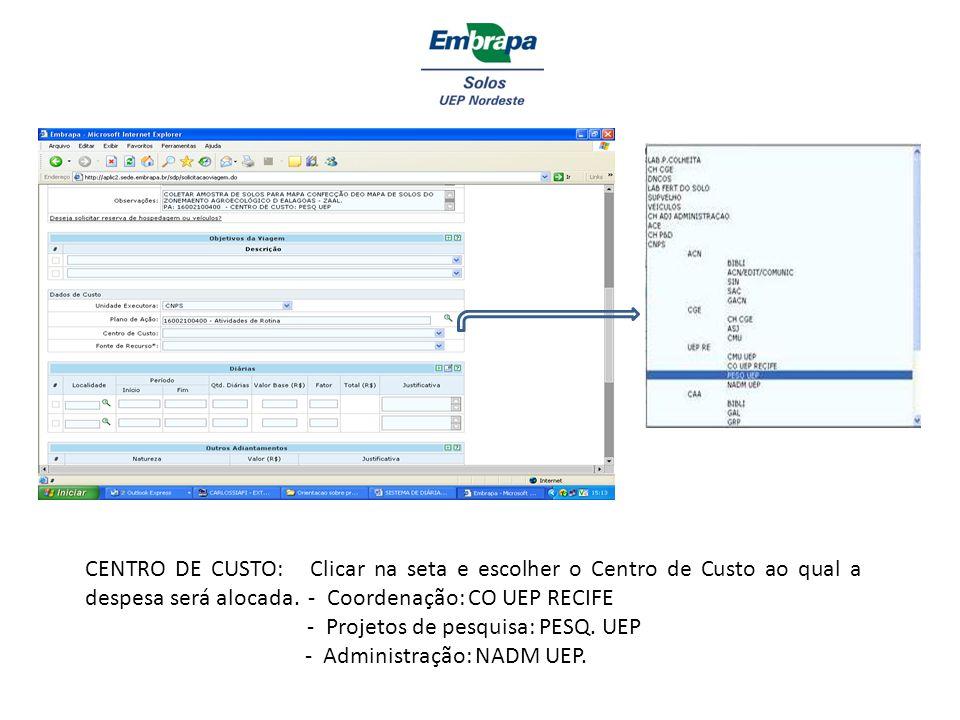 CENTRO DE CUSTO: Clicar na seta e escolher o Centro de Custo ao qual a despesa será alocada. - Coordenação: CO UEP RECIFE - Projetos de pesquisa: PESQ