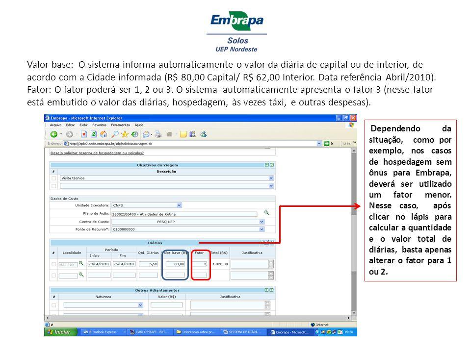 Valor base: O sistema informa automaticamente o valor da diária de capital ou de interior, de acordo com a Cidade informada (R$ 80,00 Capital/ R$ 62,0