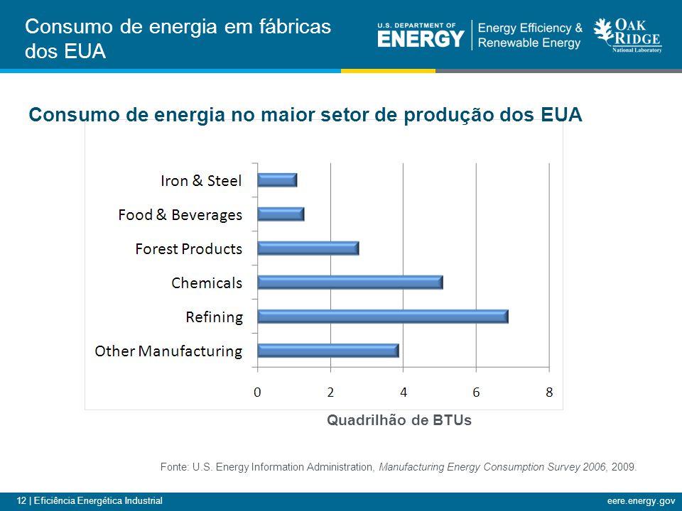 12 | Eficiência Energética Industrialeere.energy.gov Consumo de energia em fábricas dos EUA Consumo de energia no maior setor de produção dos EUA Font