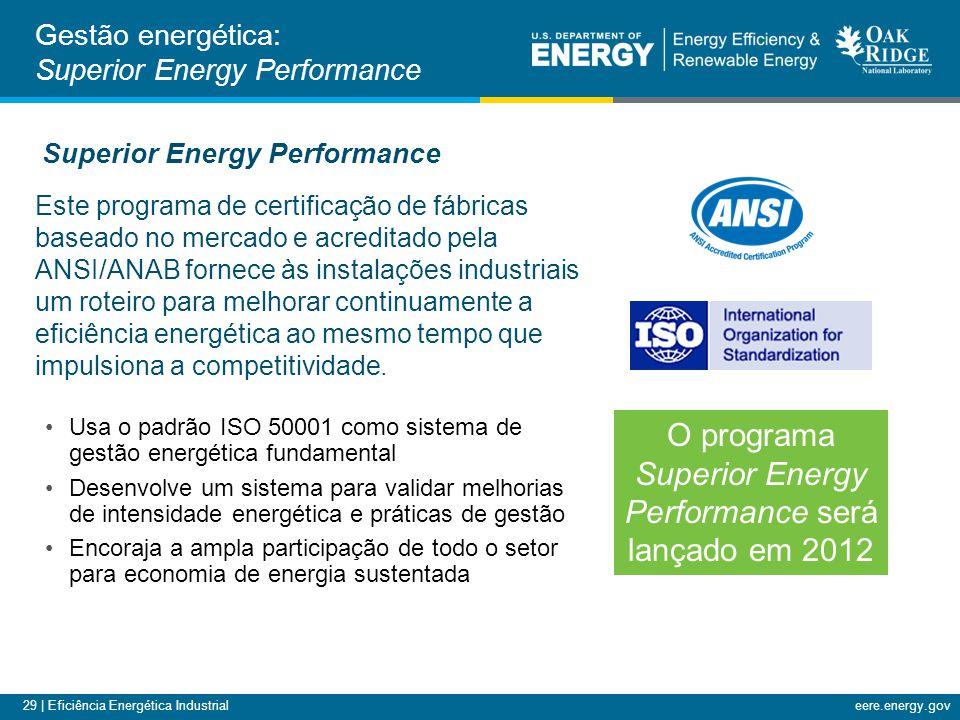 29 | Eficiência Energética Industrialeere.energy.gov Este programa de certificação de fábricas baseado no mercado e acreditado pela ANSI/ANAB fornece