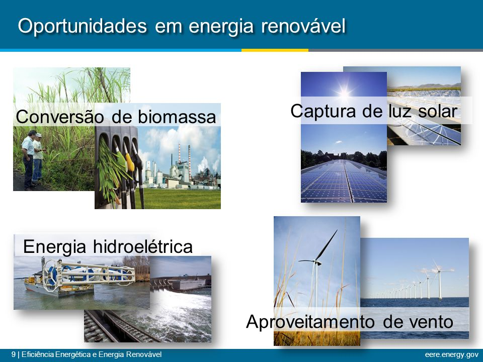 9 | Eficiência Energética e Energia Renováveleere.energy.gov Oportunidades em energia renovável Conversão de biomassa Aproveitamento de vento Captura
