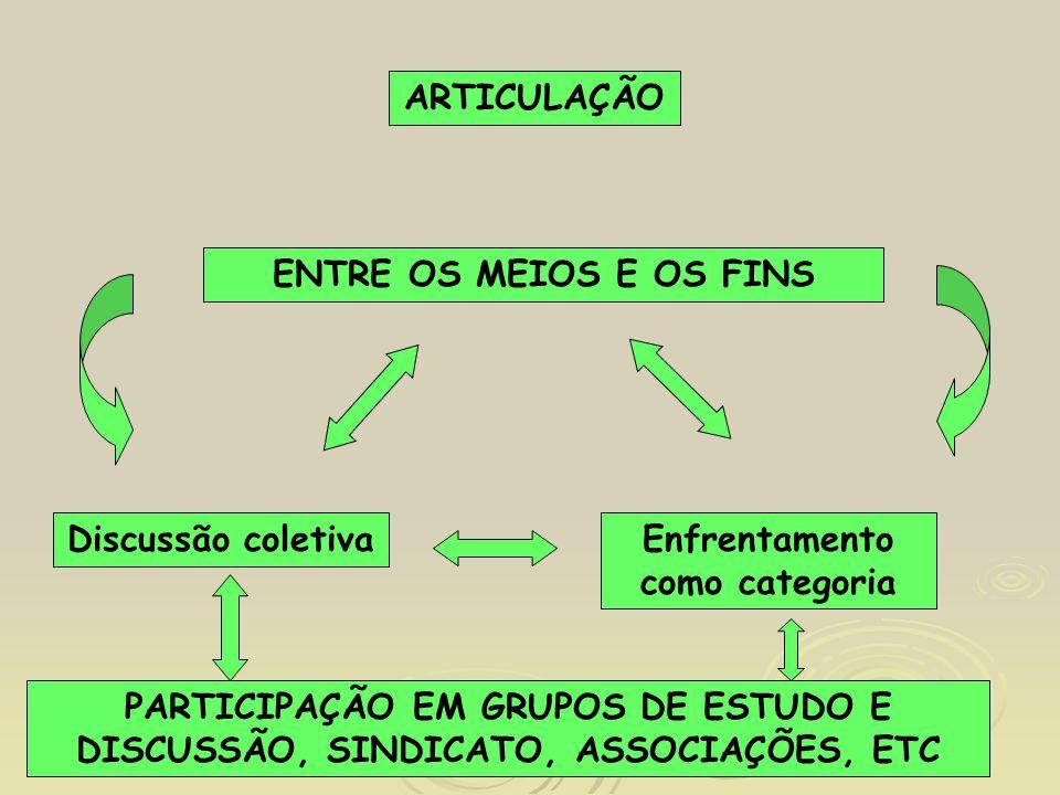 ARTICULAÇÃO ENTRE OS MEIOS E OS FINS Discussão coletivaEnfrentamento como categoria PARTICIPAÇÃO EM GRUPOS DE ESTUDO E DISCUSSÃO, SINDICATO, ASSOCIAÇÕ