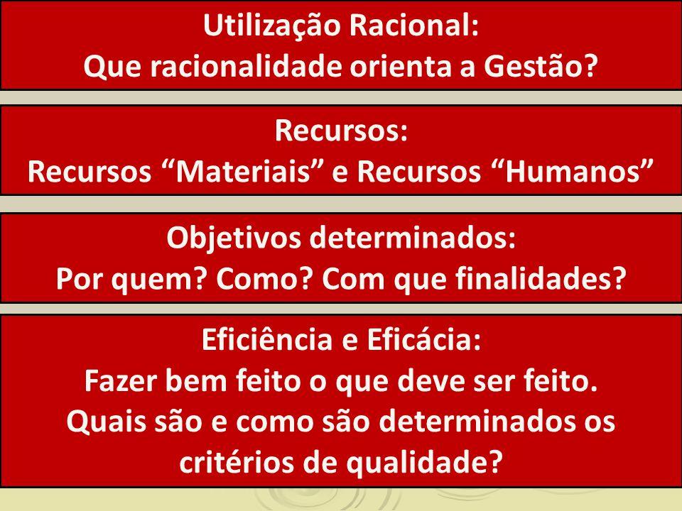 Utilização Racional: Que racionalidade orienta a Gestão? Objetivos determinados: Por quem? Como? Com que finalidades? Recursos: Recursos Materiais e R