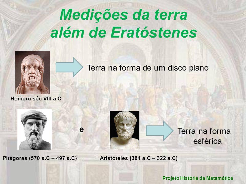 Projeto História da Matemática Medições da terra além de Eratóstenes Homero séc VIII a.C Terra na forma de um disco plano Pitágoras (570 a.C – 497 a.C