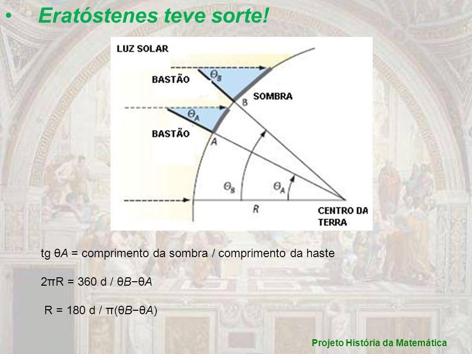 Eratóstenes teve sorte! tg θA = comprimento da sombra / comprimento da haste 2πR = 360 d / θBθA R = 180 d / π(θBθA) Projeto História da Matemática