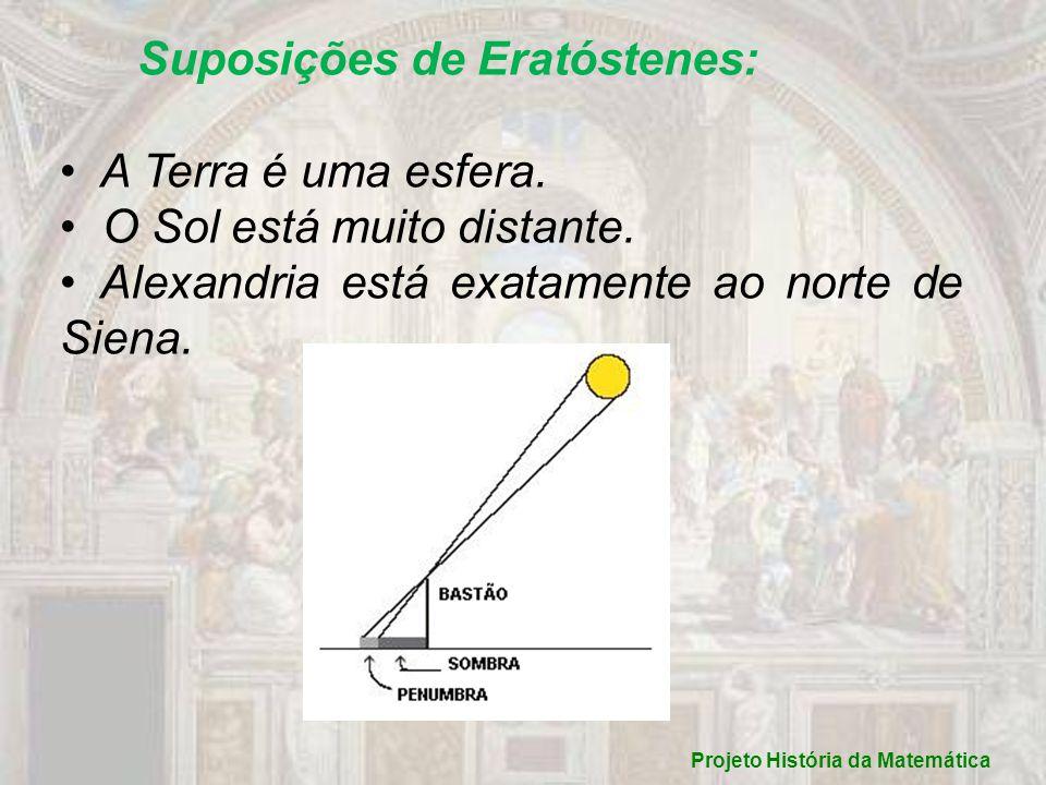 Suposições de Eratóstenes: A Terra é uma esfera. O Sol está muito distante. Alexandria está exatamente ao norte de Siena. Projeto História da Matemáti