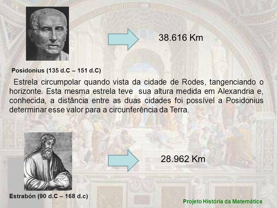 Projeto História da Matemática Posidonius (135 d.C – 151 d.C) 38.616 Km Estrela circumpolar quando vista da cidade de Rodes, tangenciando o horizonte.