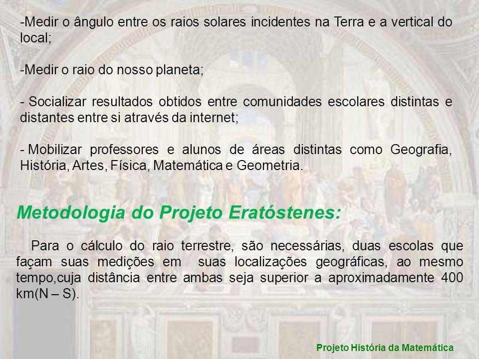 Projeto História da Matemática Data da medição conjunta: 21/06/10, ao meio-dia solar.