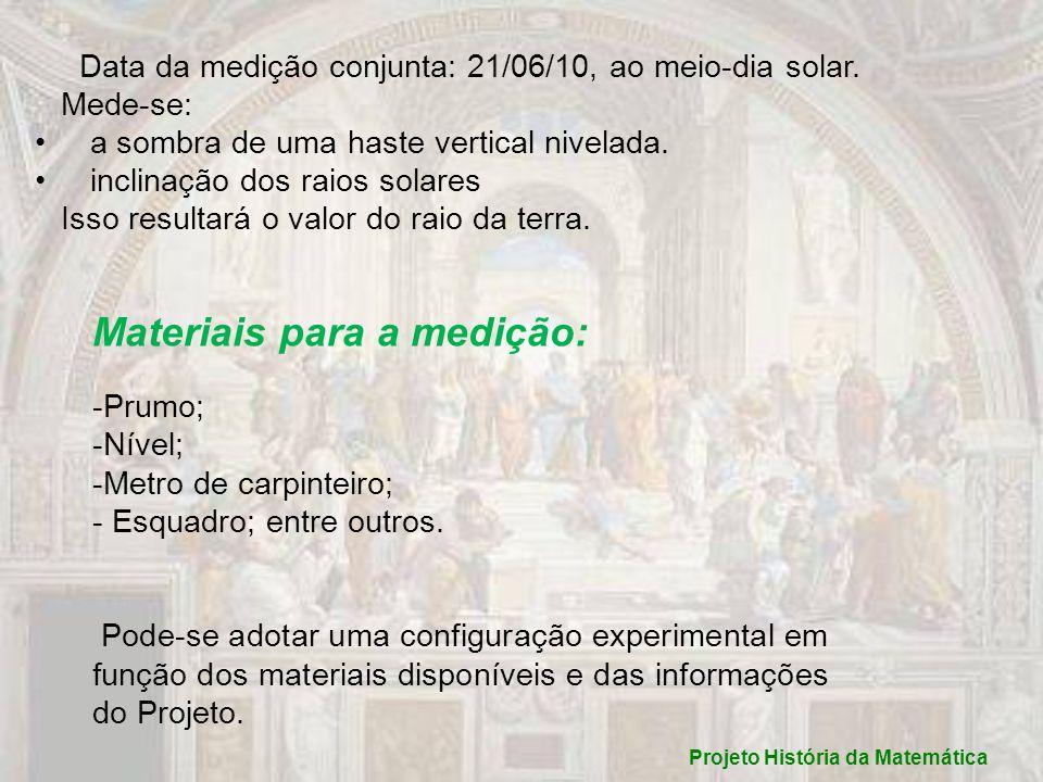 Projeto História da Matemática Data da medição conjunta: 21/06/10, ao meio-dia solar. Mede-se: a sombra de uma haste vertical nivelada. inclinação dos