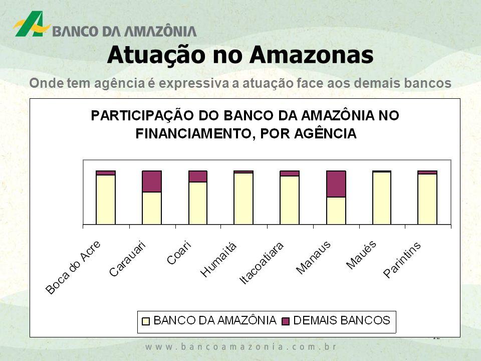 12 Onde tem agência é expressiva a atuação face aos demais bancos Atuação no Amazonas