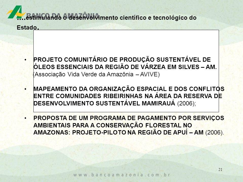 21 PROJETO COMUNITÁRIO DE PRODUÇÃO SUSTENTÁVEL DE ÓLEOS ESSENCIAIS DA REGIÃO DE VÁRZEA EM SILVES – AM.