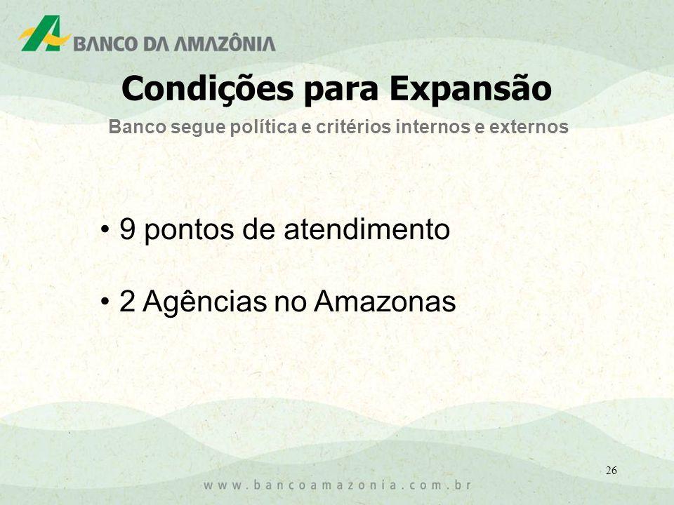 26 9 pontos de atendimento 2 Agências no Amazonas Banco segue política e critérios internos e externos Condições para Expansão