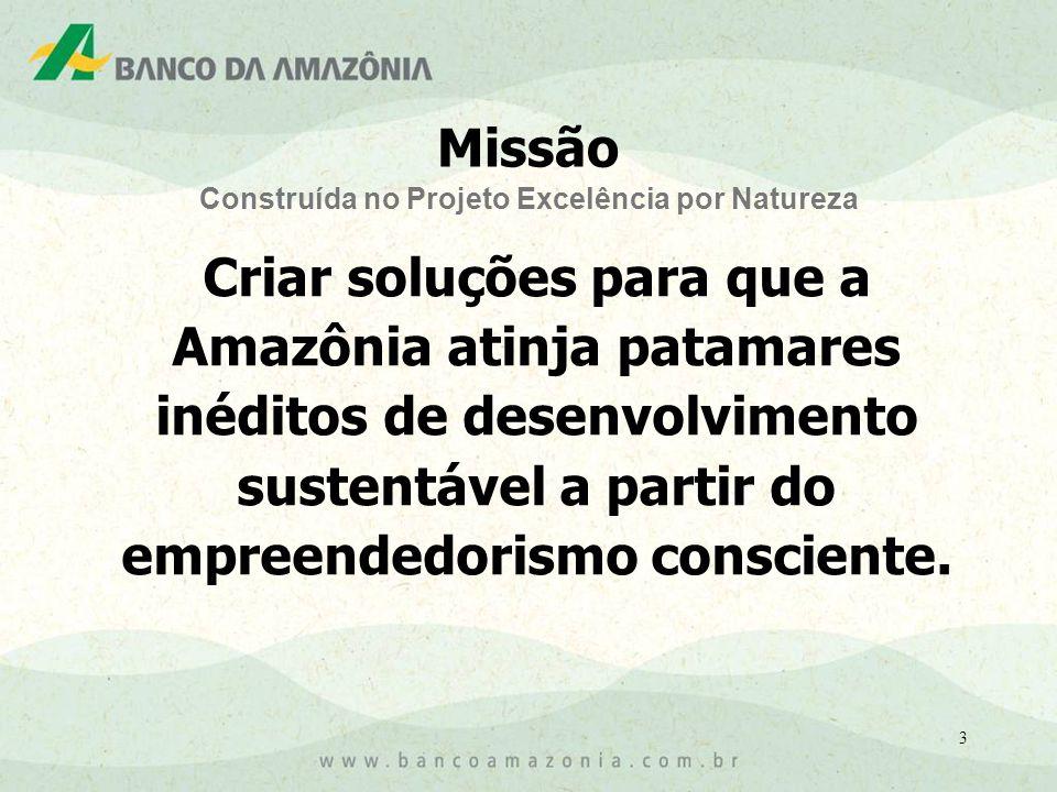 4 Ousadia, excelência, inovação, novidade, eficiência, efetividade, rumo e participação; Para transformar o Banco da Amazônia em Banco Múltiplo, em harmonia com sua função de desenvolvimento e dar corpo à sua atuação internacional.