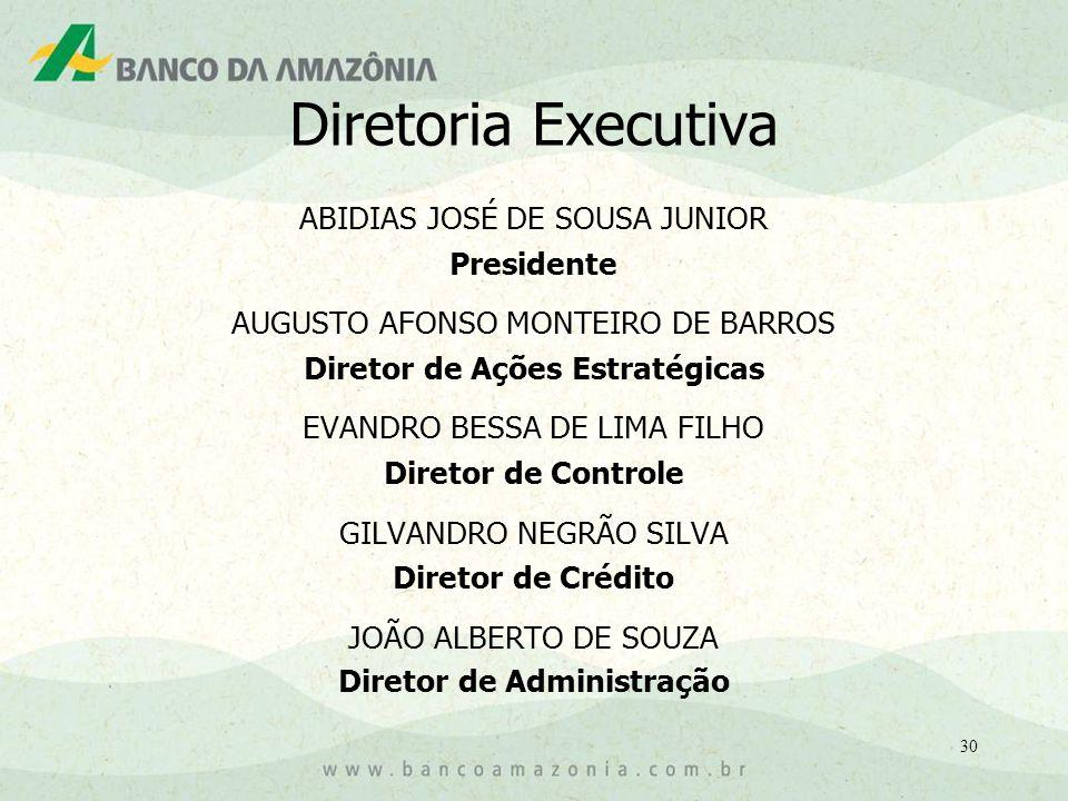 30 Diretoria Executiva ABIDIAS JOSÉ DE SOUSA JUNIOR Presidente AUGUSTO AFONSO MONTEIRO DE BARROS Diretor de Ações Estratégicas EVANDRO BESSA DE LIMA FILHO Diretor de Controle GILVANDRO NEGRÃO SILVA Diretor de Crédito JOÃO ALBERTO DE SOUZA Diretor de Administração