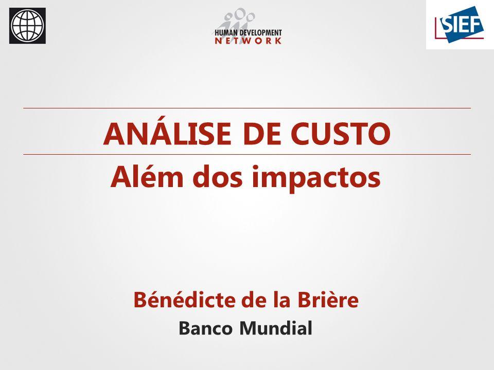 Bénédicte de la Brière Banco Mundial ANÁLISE DE CUSTO Além dos impactos