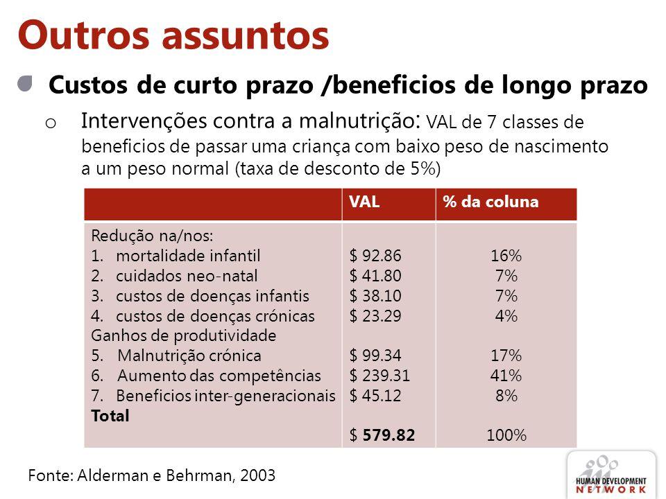 Outros assuntos Custos de curto prazo /beneficios de longo prazo o Intervenções contra a malnutrição : VAL de 7 classes de beneficios de passar uma cr
