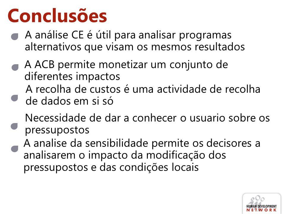 Conclusões A ACB permite monetizar um conjunto de diferentes impactos A análise CE é útil para analisar programas alternativos que visam os mesmos res