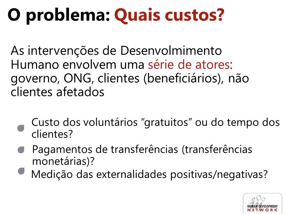 O problema: Quais custos? Medição das externalidades positivas/negativas? Pagamentos de transferências (transferências monetárias)? As intervenções de