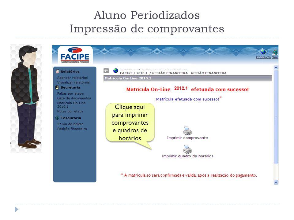 Aluno Periodizados Impressão de comprovantes 2012.1 Clique aqui para imprimir comprovantes e quadros de horários * A matricula só será confirmada e válida, após a realização do pagamento.