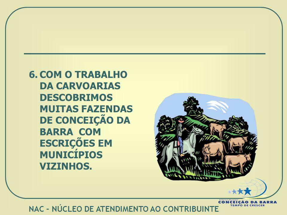 6.COM O TRABALHO DA CARVOARIAS DESCOBRIMOS MUITAS FAZENDAS DE CONCEIÇÃO DA BARRA COM ESCRIÇÕES EM MUNICÍPIOS VIZINHOS.