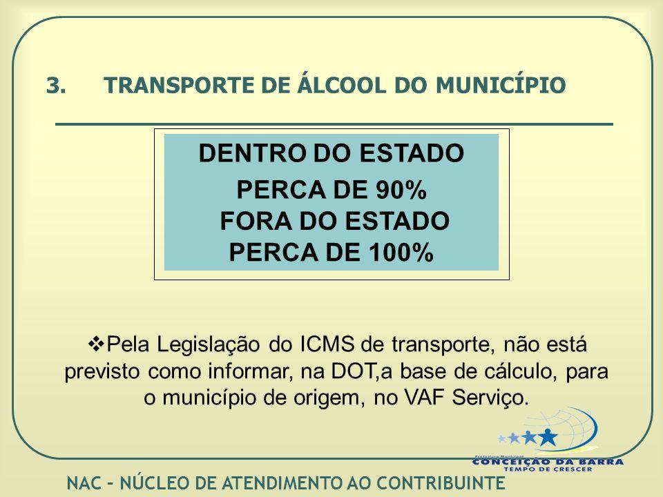 3.TRANSPORTE DE ÁLCOOL DO MUNICÍPIO PERCA DE 90% FORA DO ESTADO PERCA DE 100% Pela Legislação do ICMS de transporte, não está previsto como informar, na DOT,a base de cálculo, para o município de origem, no VAF Serviço.