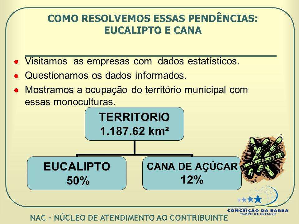 COMO RESOLVEMOS ESSAS PENDÊNCIAS: EUCALIPTO E CANA TERRITORIO 1.187.62 km² EUCALIPTO 50% CANA DE AÇÚCAR 12% Visitamos as empresas com dados estatísticos.