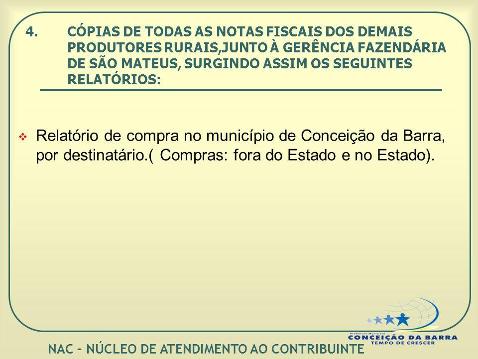 4.CÓPIAS DE TODAS AS NOTAS FISCAIS DOS DEMAIS PRODUTORES RURAIS,JUNTO À GERÊNCIA FAZENDÁRIA DE SÃO MATEUS, SURGINDO ASSIM OS SEGUINTES RELATÓRIOS: Relatório de compra no município de Conceição da Barra, por destinatário.( Compras: fora do Estado e no Estado).
