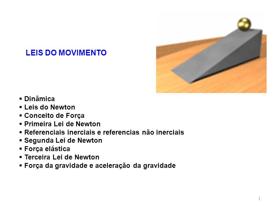 1 LEIS DO MOVIMENTO Dinâmica Leis do Newton Conceito de Força Primeira Lei de Newton Referenciais inerciais e referencias não inerciais Segunda Lei de