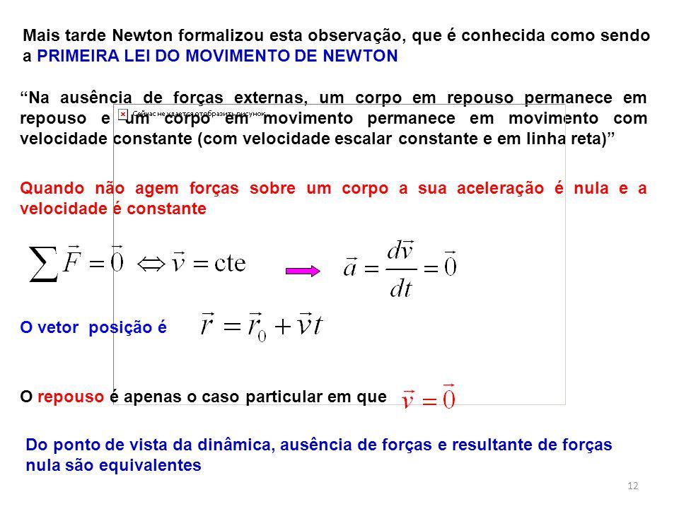 Mais tarde Newton formalizou esta observação, que é conhecida como sendo a PRIMEIRA LEI DO MOVIMENTO DE NEWTON Na ausência de forças externas, um corp