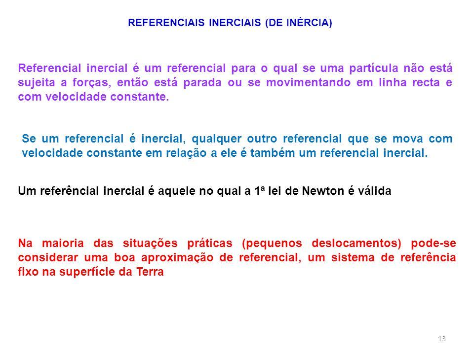 REFERENCIAIS INERCIAIS (DE INÉRCIA) Referencial inercial é um referencial para o qual se uma partícula não está sujeita a forças, então está parada ou se movimentando em linha recta e com velocidade constante.
