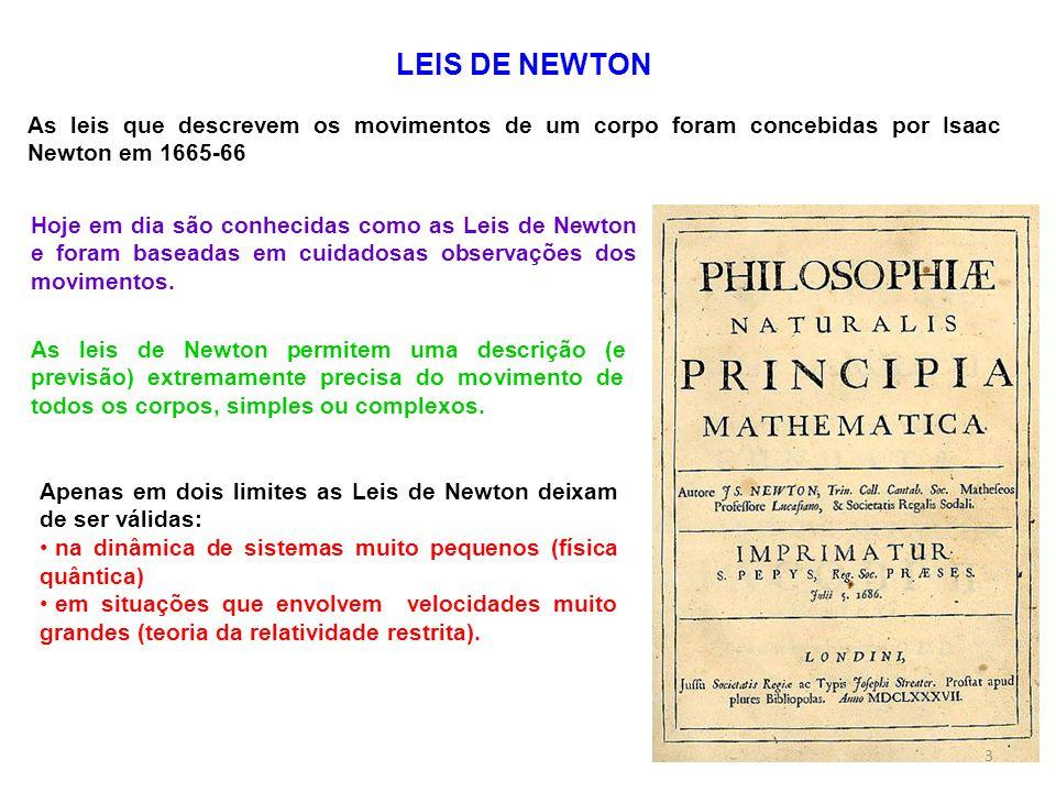 Apenas em dois limites as Leis de Newton deixam de ser válidas: na dinâmica de sistemas muito pequenos (física quântica) em situações que envolvem vel