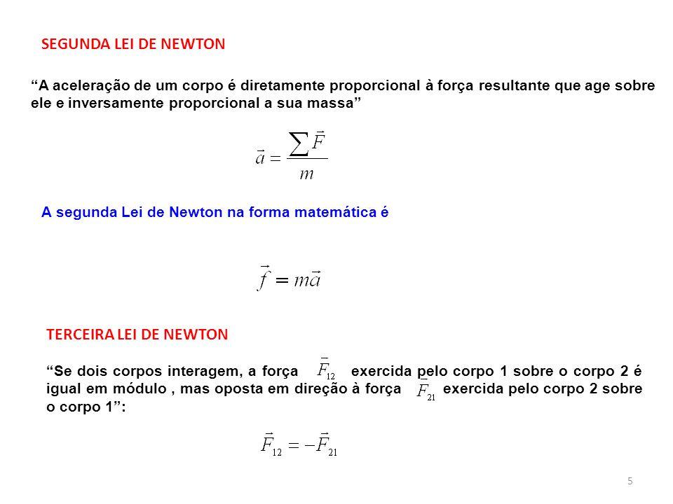 SEGUNDA LEI DE NEWTON A aceleração de um corpo é diretamente proporcional à força resultante que age sobre ele e inversamente proporcional a sua massa