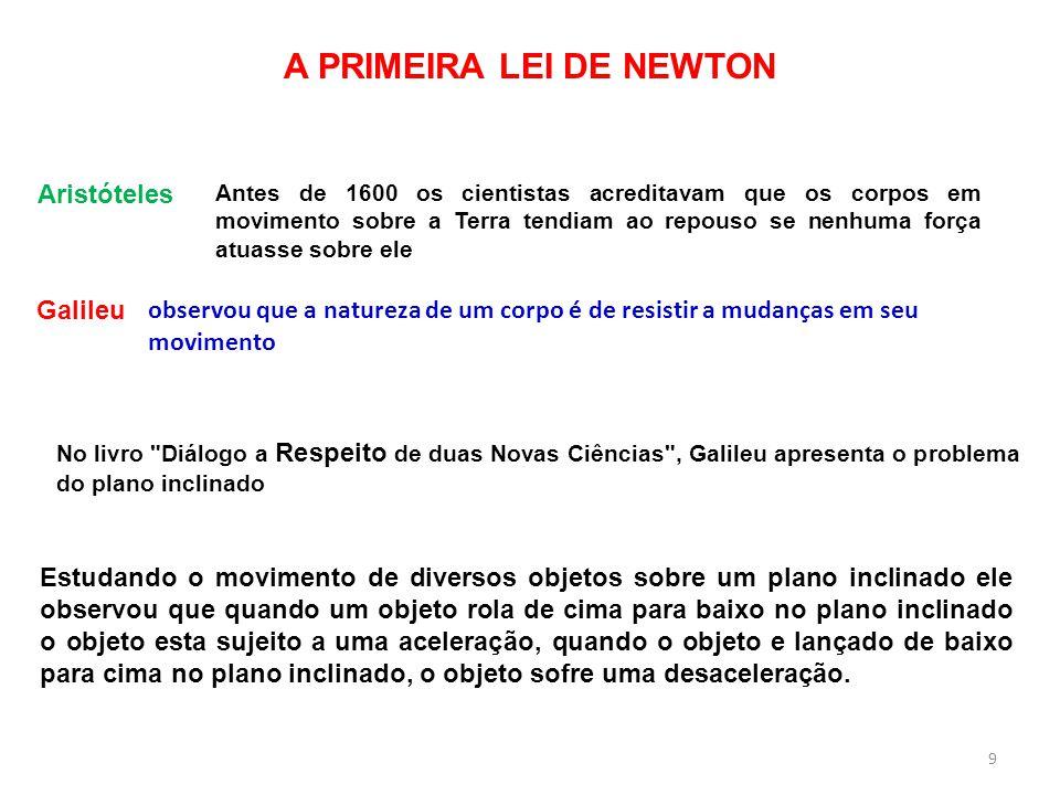 A PRIMEIRA LEI DE NEWTON observou que a natureza de um corpo é de resistir a mudanças em seu movimento No livro