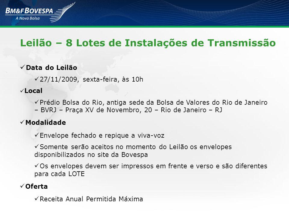 Leilão – 8 Lotes de Instalações de Transmissão Data do Leilão 27/11/2009, sexta-feira, às 10h Local Prédio Bolsa do Rio, antiga sede da Bolsa de Valor