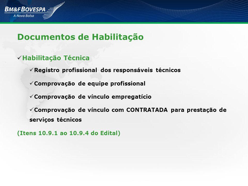 Documentos de Habilitação Habilitação Técnica Registro profissional dos responsáveis técnicos Comprovação de equipe profissional Comprovação de víncul