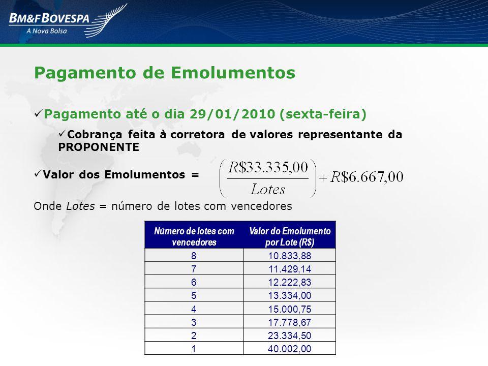 Pagamento até o dia 29/01/2010 (sexta-feira) Cobrança feita à corretora de valores representante da PROPONENTE Valor dos Emolumentos = Onde Lotes = nú